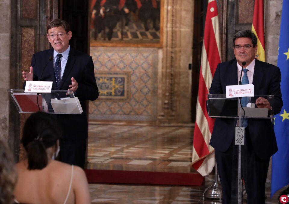 Ximo Puig y José Luis Escrivá anuncian que la Comunitat será una de las primeras autonomías en suscribir el convenio para la gestión del ingreso mínimo vital